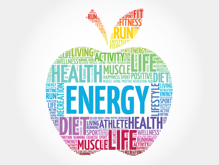 Colorful Energy apple word cloud concept
