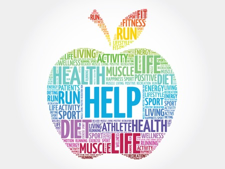 charity and relief work: Colorful Help apple word cloud concept