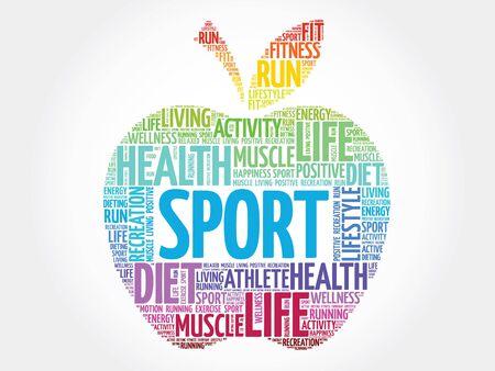 Bunte Sport Apfel Wort Cloud-Konzept