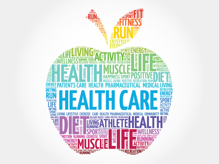 preventive: Colorful Health care apple word cloud concept Illustration
