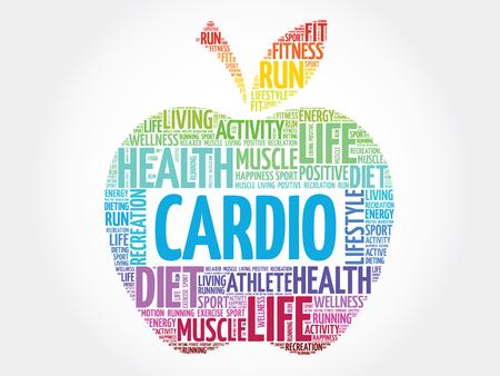 physique: Colorful Cardio apple word cloud concept