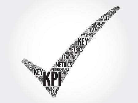 KPI - Key Performance Indicator marca de verificación, las palabras nube concepto de negocio Ilustración de vector