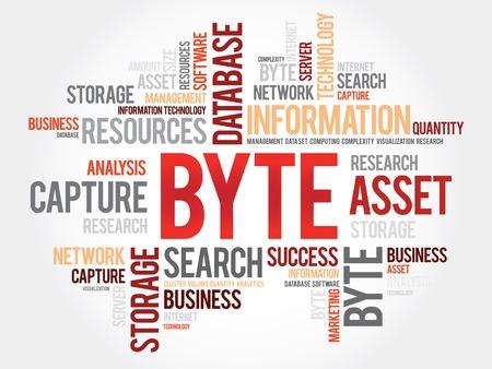 byte: Byte word cloud, business concept Illustration
