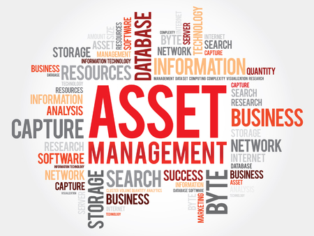 Asset Management word cloud, business concept Vector Illustration