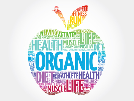 vitamine: Colorful Organic apple word cloud concept