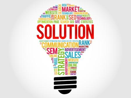 describes: SOLUTION bulb word cloud, business concept