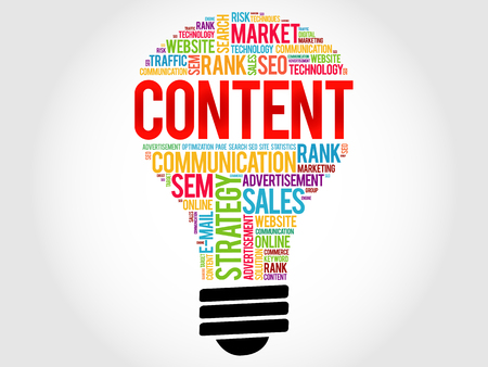 meta tags: CONTENT bulb word cloud, business concept Illustration