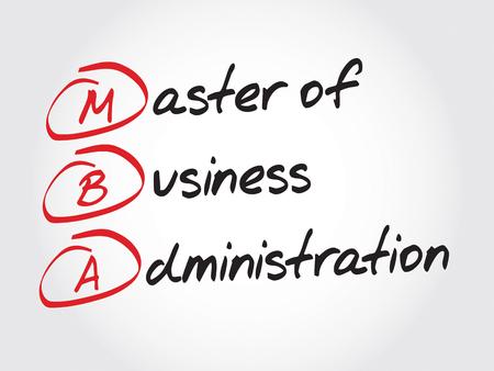 administracion de empresas: MBA - Master of Business Administration, concepto de negocio acrónimo Vectores