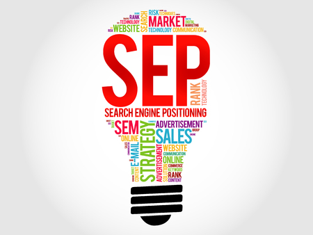 search engine optimized: SEP (search engine positioning) bulb word cloud, business concept