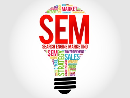 search engine optimized: SEM (Search Engine Marketing) bulb word cloud, business concept Illustration