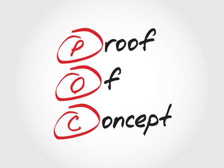 POC - prueba de concepto, concepto de negocio acrónimo Foto de archivo - 52550311