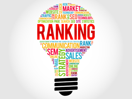 meta tags: RANKING bulb word cloud, business concept Illustration
