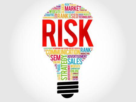 probability: RISK bulb word cloud, business concept