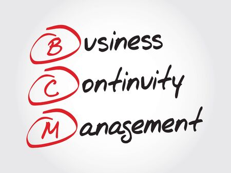 business continuity: BCM - Business Continuity Management, acronym business concept Illustration
