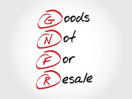 GNFR - Productos no para la reventa, concepto de negocio acrónimo