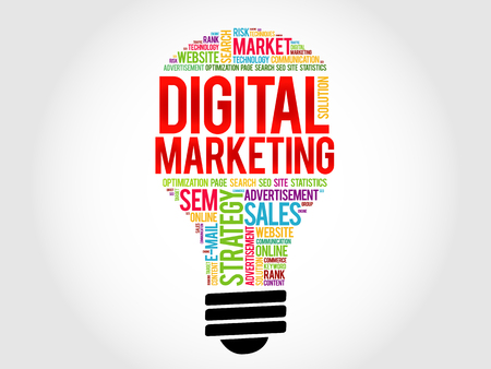 direct sale: Digital Marketing bulb word cloud, business concept