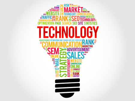 new generation: TECHNOLOGY bulb word cloud, business concept Illustration
