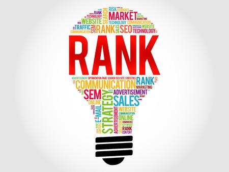 RANK bulb word cloud, business concept