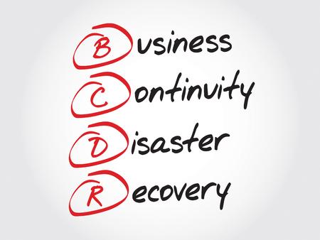 BCDR - Continuidad del negocio de recuperación de desastres, concepto de negocio acrónimo