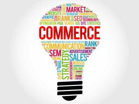 e retailers: COMMERCE bulb word cloud, business concept