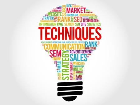 techniques: Techniques bulb word cloud, business concept Illustration