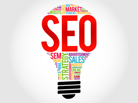 optimizing: SEO (search engine optimization) bulb word cloud, business concept Illustration