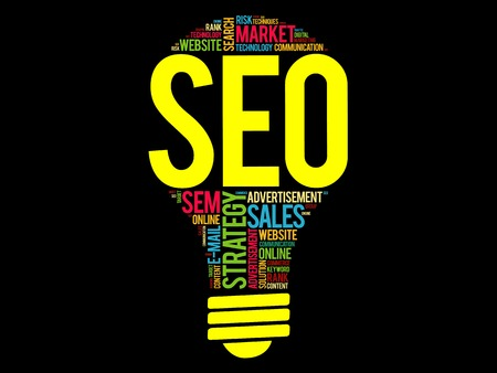 metasearch: SEO (search engine optimization) bulb word cloud, business concept Illustration