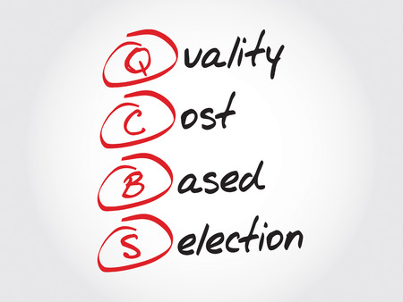 selection: QCBS - Quality and Cost Based Selection, acronym business concept Illustration