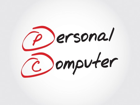 personal computer: PC Personal Computer, acronym business concept