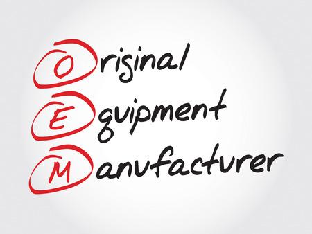 OEM fabricante de equipos originales, el concepto acrónimo Ilustración de vector