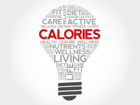 the calories: CALORIES bulb word cloud, health concept