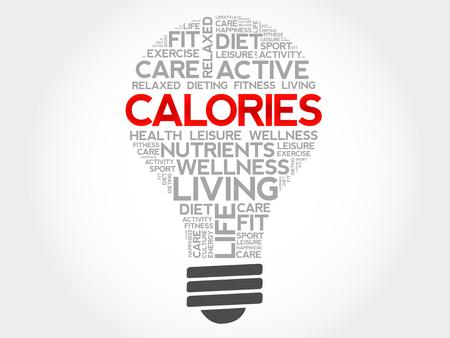calories: CALORIES bulb word cloud, health concept