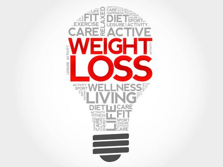 losing control: Weight Loss bulb word cloud, health concept Illustration