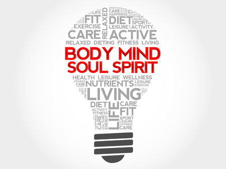 mind body soul: Body Mind Soul Spirit bulb word cloud, health concept