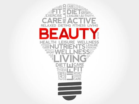 complexion: BEAUTY bulb word cloud, health concept