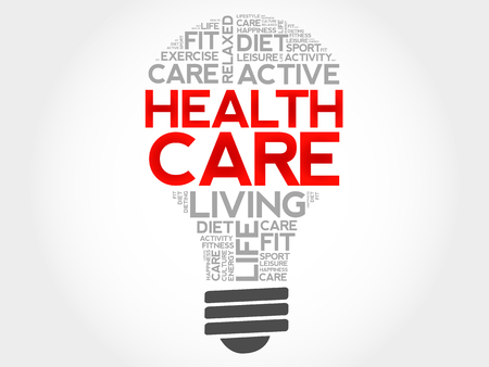 surgery costs: Health care bulb word cloud, health concept