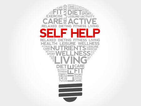 self help: Self Help bulb word cloud, health concept Illustration