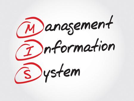 information system: MIS Management Information System, acronym business concept