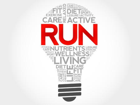 destress: RUN bulb word cloud, health concept Illustration
