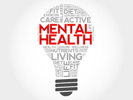 mentally: Mental health bulb word cloud, health concept Illustration