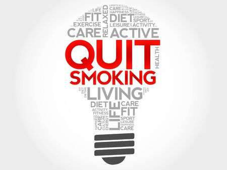 quit: Quit Smoking bulb word cloud, health concept