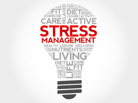 Gestione dello stress lampadina nuvola parola, concetto di salute Vettoriali