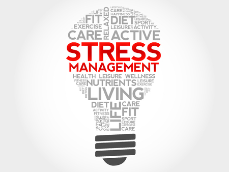 Stress Management Glühlampe Wortwolke, Gesundheitskonzept Vektorgrafik