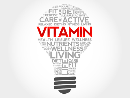 enzyme: VITAMIN bulb word cloud, health concept