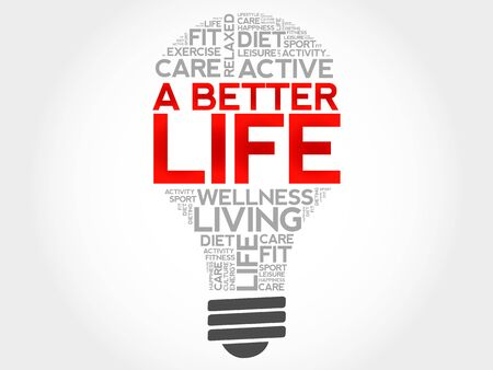 well being: A Better Life bulb word cloud, health concept