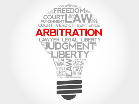 arbitration: Arbitration bulb word cloud concept
