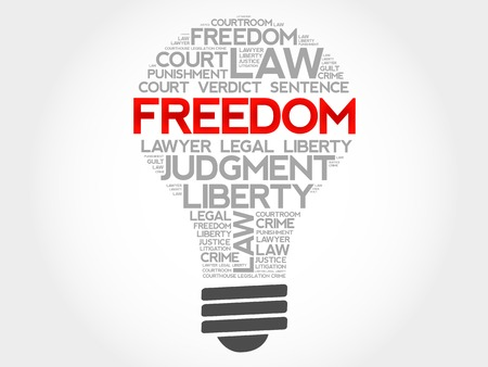 rightness: Freedom bulb word cloud concept