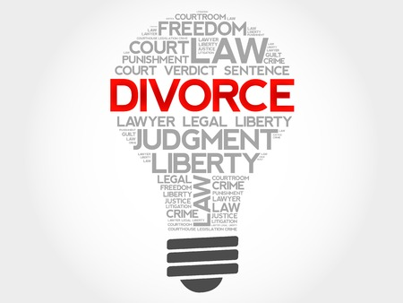 dissolution: Divorce bulb word cloud concept