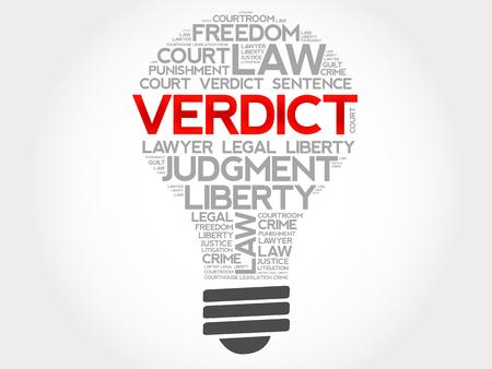 ethical: Verdict bulb word cloud concept