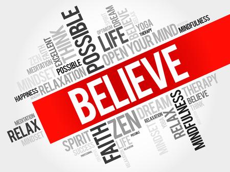 believe: Believe word cloud concept